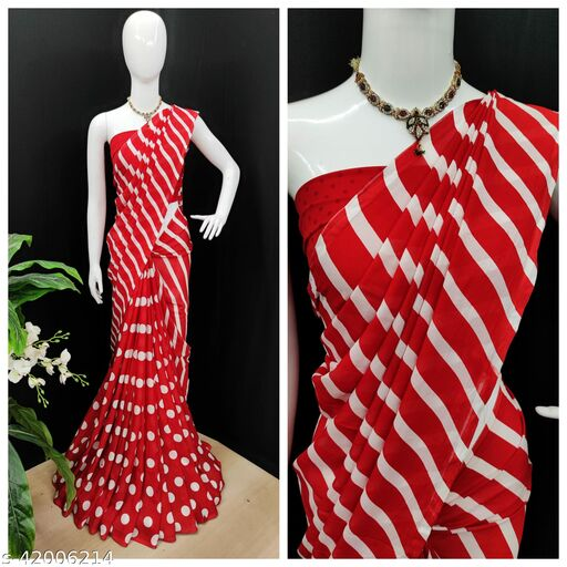 Anand Sarees, Printed, Daily Wear, Georgette Saree with blouse piece