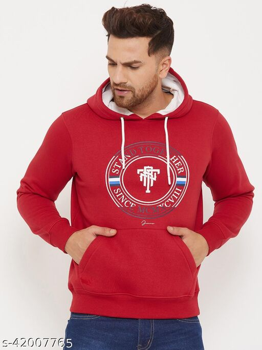 98 Degree North's Red Hooded Printed Sweatshirt