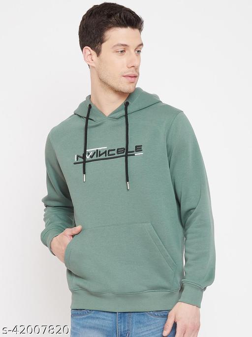 98 Degree North's Green Melange Hooded Embroidered Sweatshirt