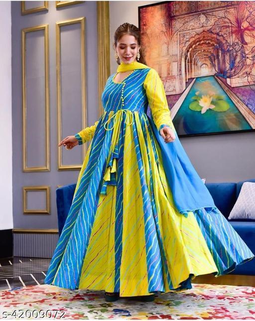 Malavika Heavy Butter Silk Multicolor Gown