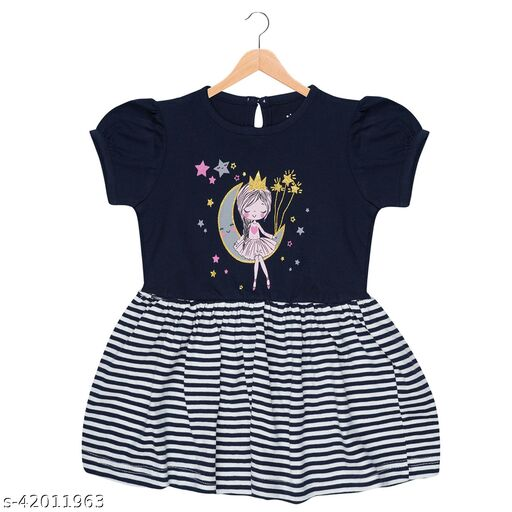 Poppy Kids Girls/Baby Girls Stylish Cotton Navy Moon Dress/Frock (Pack of 1)