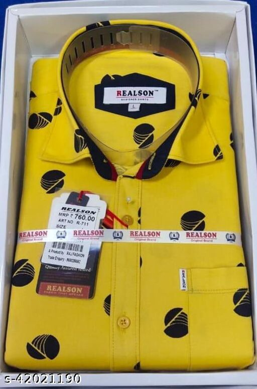 REALSON SOLID PRINTED SHIRT FOR MEN