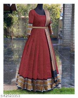 Gorgeous Maroon Colored Partywear Woven Poly Silk Jacqard  Gown with Duppata