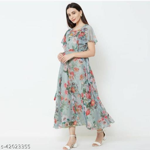 Impressive Green Designer Digital Printed Gown