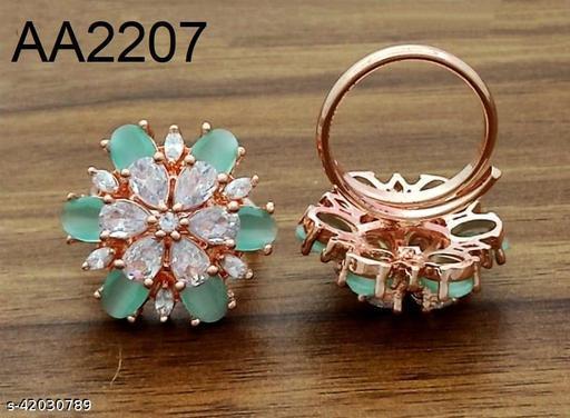 American Diamond Stone Flower Ring