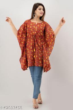 Miskala Women Printed Cotton Kaftan Cape Kurti|Trending|Top|Kaftan|Stylish|Easy To Wear|