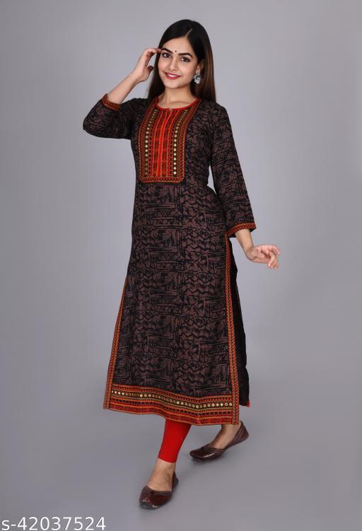 Women Embroidered Rayon Straight Kurta(Multicolor)