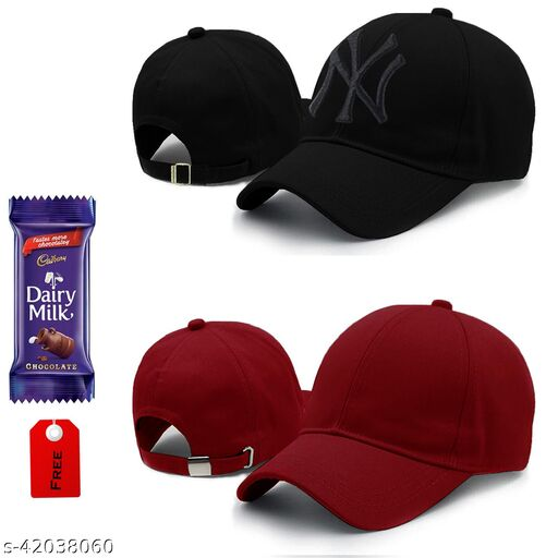 Latest pack of 2 adjustable baseball cotton sports cap combo for men and women with chocolate