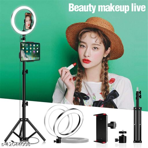 """5 Feet Long Tripod Stand with 10"""" LED Ring Light Combo for instagram Reels YouTube vlogging Vigo Video Shooting and Recording"""