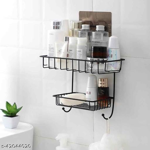 AMAR ENTERPRISE 2 Layer Multipurpose Kitchen Bathroom Shelf Wall Holder Storage Rack Strong Magic Sticker Shower Rack Shelf with 2 Hook (Black)