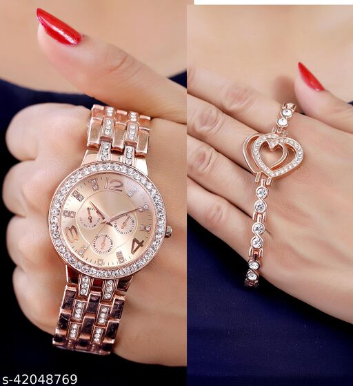 metal strap analog watch and bracelet combo for Girls