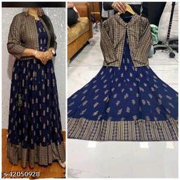 Wonen Reyon Printed Kurti with Jacket, Blue colour