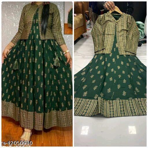 Wonen Reyon Printed Kurti with Jacket, Green colour