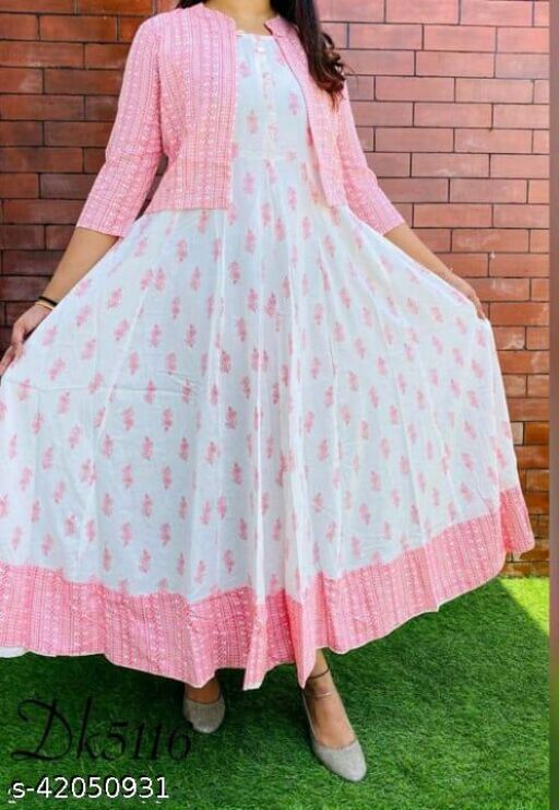Wonen Reyon Printed Kurti with Jacket, Pink colour