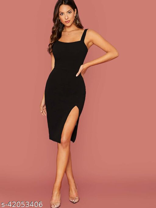 Aahwan Women's Solid Thing Slit mini Bodycon Dress