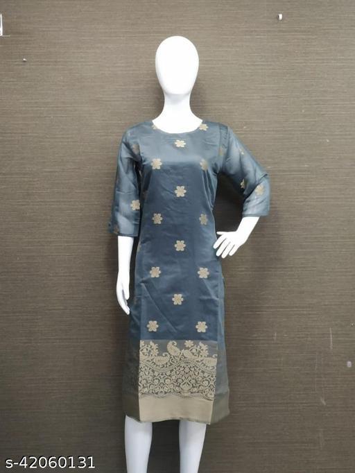 Grey-gold Jacquard silk Kurta 32