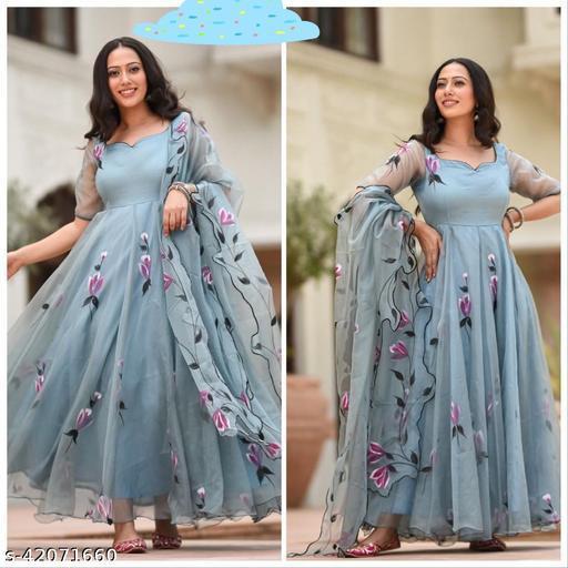 luxurious Beautiful  dusty gown sky blue anarkali with duptta
