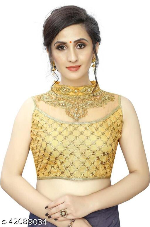 Fashion Fort Designer Silk Gold Color Embroidery Ready made Blouse Piece 502