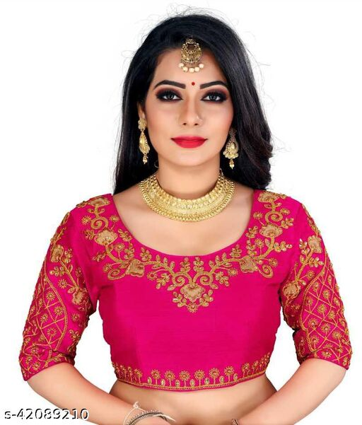 Fashion Fort Designer Silk Pink Color Embroidery Ready made Blouse Piece