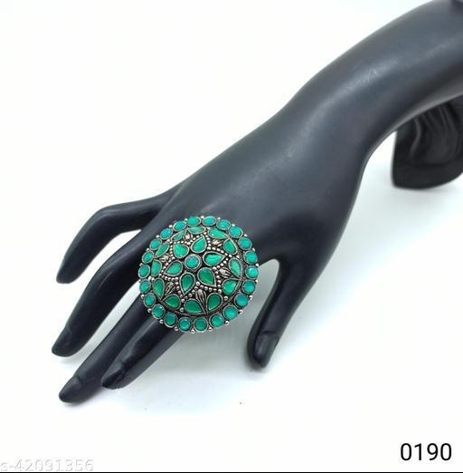 Jewelshadi Traditional Ethnic Finger Ring For Women - Green