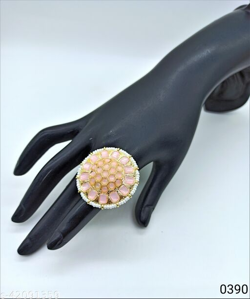Jewelshadi Traditional Ethnic Finger Ring For Women - Baby Pink