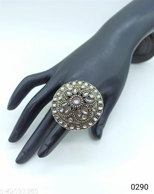 Jewelshadi Traditional Ethnic Finger Ring For Women - White