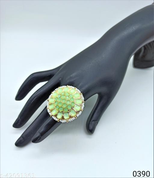 Jewelshadi Traditional Ethnic Finger Ring For Women - Light Green