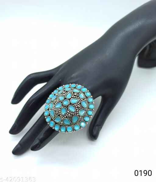 Jewelshadi Traditional Ethnic Finger Ring For Women - Sky Blue