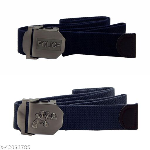 Pack Of Two, Els Fabric, Canvas Belts For Men - (Blue-Grey )