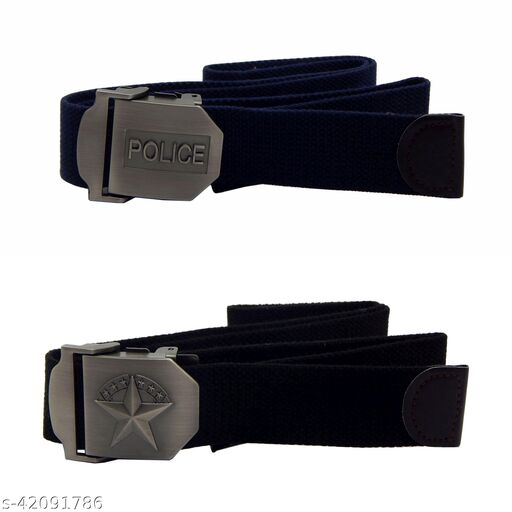 Pack Of Two, Els Fabric, Canvas Belts For Men - (Blue-Black )
