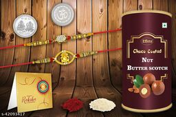 Rakshabandhan Multicolor Silver Plated Rakhi 2 Rakhi Combo with Effete Chocolate Almonds 96gm, Roli chawal, Pooja Coin & Greeting.