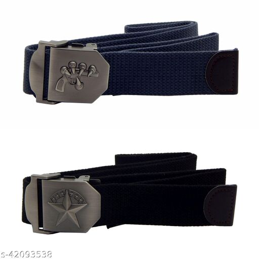 Pack Of Two, Els Fabric, Canvas Belts For Men - (Grey-Black )