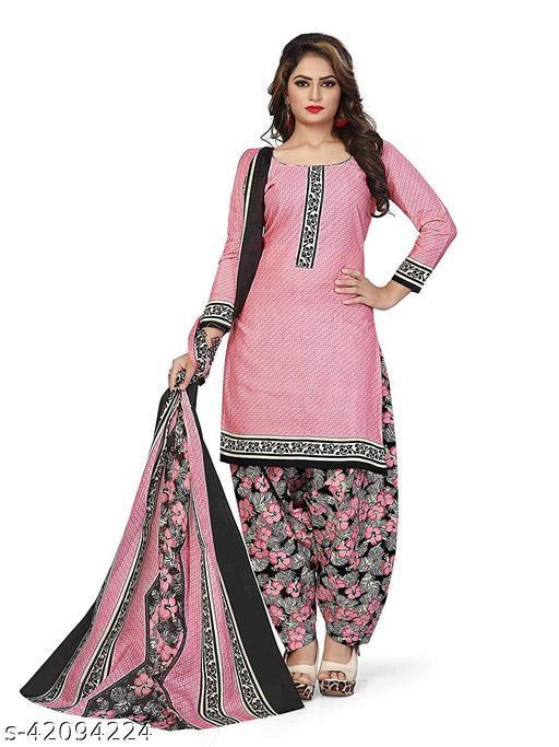 Anny Deziner Women's Pink  Cotton Printed Unstitched Salwar Suit Material