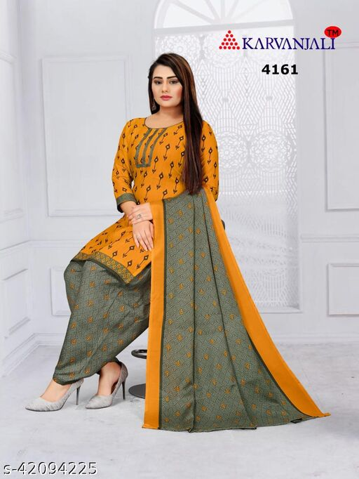 Anny Deziner Women's Yellow  Cotton Printed Unstitched Salwar Suit Material