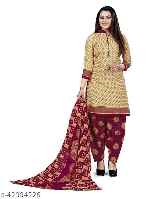 Anny Deziner Women's Beige  Cotton Printed Unstitched Salwar Suit Material