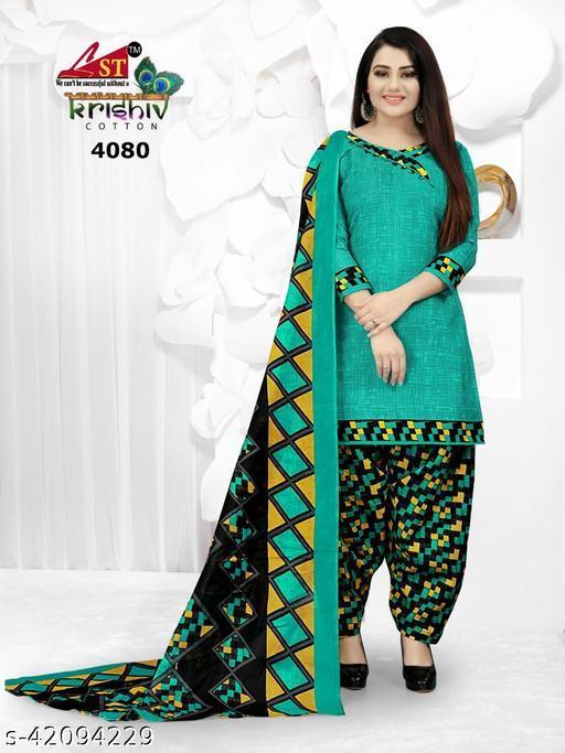 Anny Deziner Women's Blue Cotton Printed Unstitched Salwar Suit Material