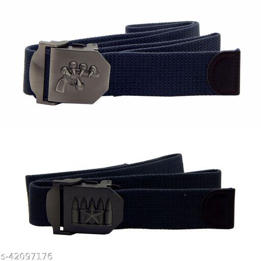 Pack Of Two, Els Fabric, Canvas Belts For Men - (Grey-Grey)