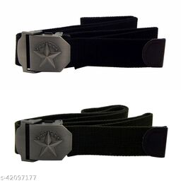 Pack Of Two, Els Fabric, Canvas Belts For Men - (Black-Green )
