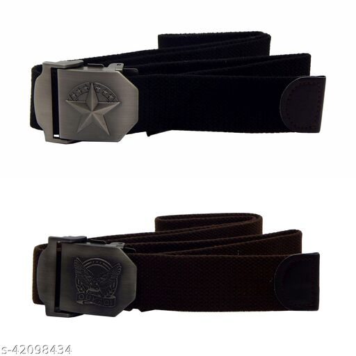 Pack Of Two, Els Fabric, Canvas Belts For Men - (Black-Brown )