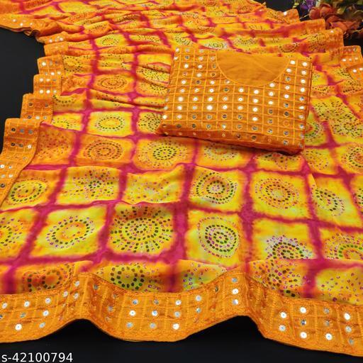 women's Georgette Bandhani printed saree With Mirror Work