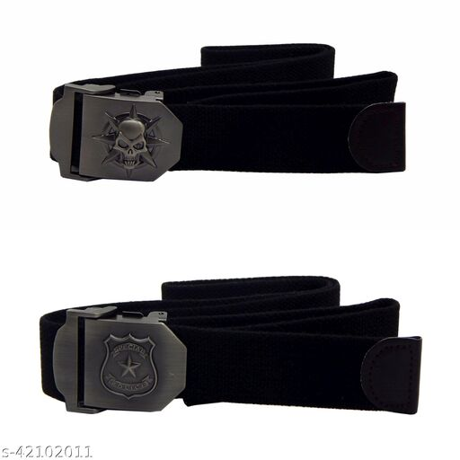 Pack Of Two, Els Fabric, Canvas Belts For Men - (Black-Black)