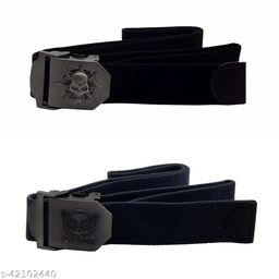 Pack Of Two, Els Fabric, Canvas Belts For Men - (Black-Grey )