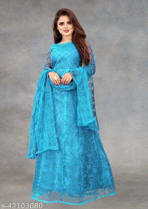Net Embroidered Semi-Stitched Gown (Sky_Free Size)