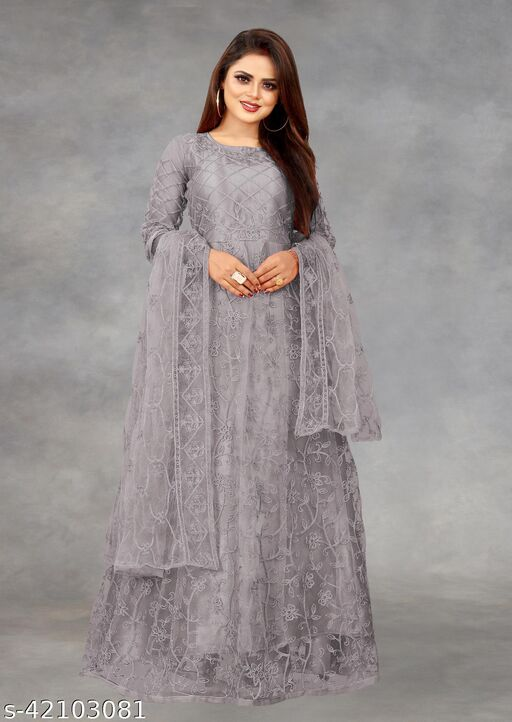 Net Embroidered Semi-Stitched Gown (Grey_Free Size)