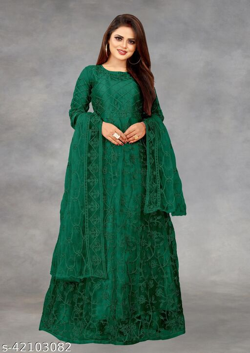 Net Embroidered Semi-Stitched Gown (Green_Free Size)