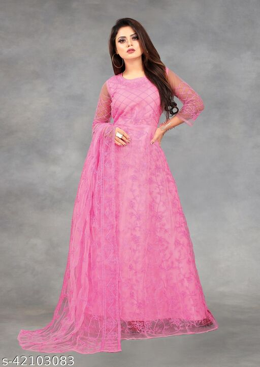 Net Embroidered Semi-Stitched Gown (Pink_Free Size)