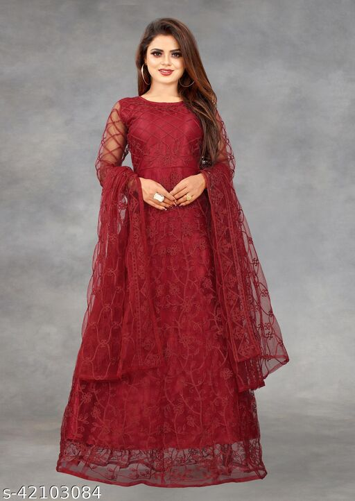 Net Embroidered Semi-Stitched Gown (Maroon_Free Size)