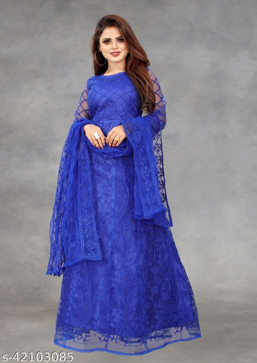 Net Embroidered Semi-Stitched Gown (Blue_Free Size)