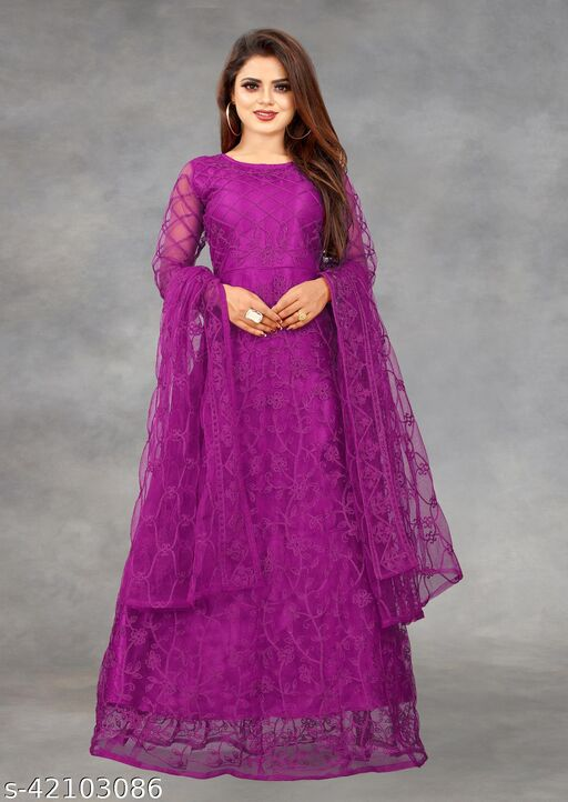 Net Embroidered Semi-Stitched Gown (Wine_Free Size)