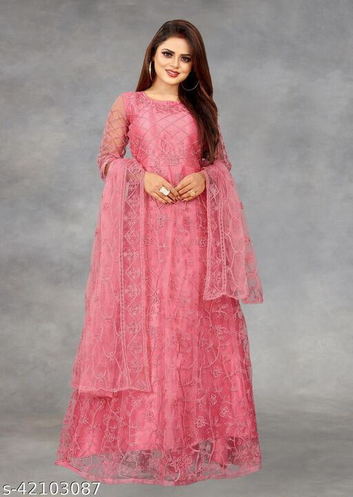 Net Embroidered Semi-Stitched Gown (Peach_Free Size)